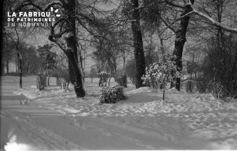 Jardin public sous la neige