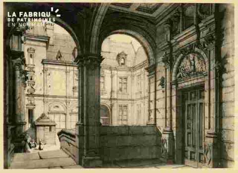 Hôtel d'Escoville.Loggia et cour