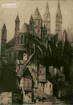 Abbaye aux hommes et vieilles maisons