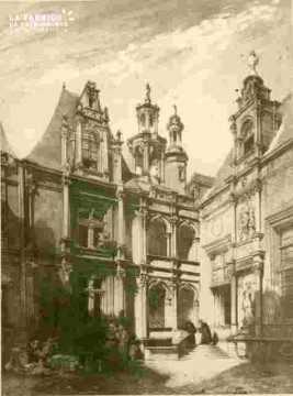 H.d'Escoville.Intérieur de la cour de la Bourse