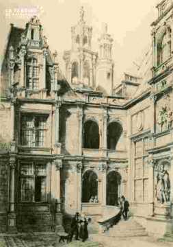 H.d'Escoville.Cour du manoir à Caen     1842