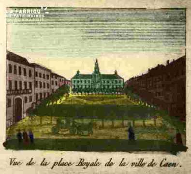 Vue de la place Royale de Caen.coloriée