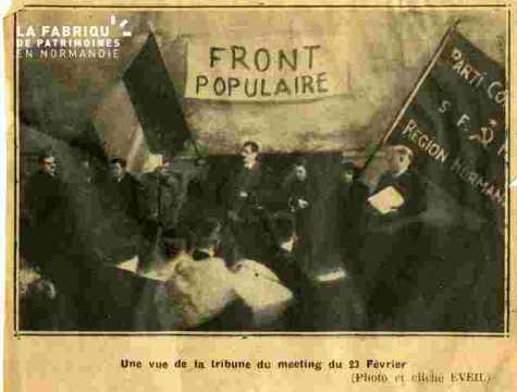 Front Populaire.Photo de meeting.
