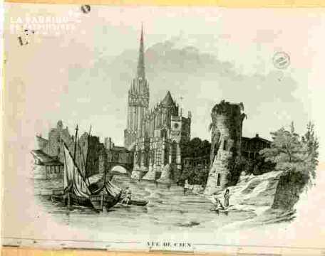 """Saint Pierre. """"""""Vue générale de Caen au bas d'un calendrierBMC"""