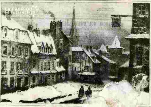 Saint Pierre.    Caen  sous la neige.Collect  M Devaud    .Ph abiméeBMC