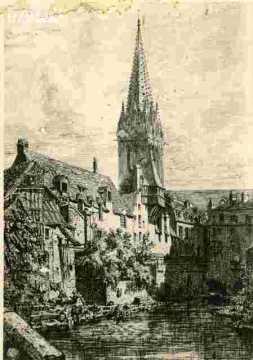 Saint Pierre.Le clocher vu des petits murs             abimé      BMC