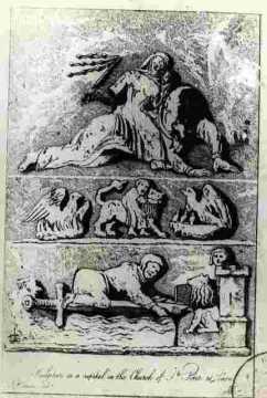 Saint Pierre. Sculpture on a capitalin the church of Saint Peter BMC