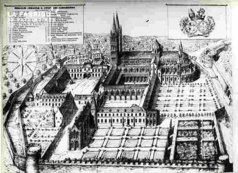Abbaye de Saint Etienne.Vue.Monasticum Gallicum