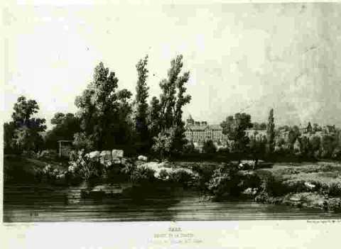 Abbaye de la Trinité vue des prairies Saint Gilles