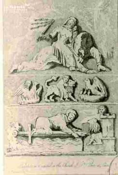 Eglise Saint Pierre, Chapiteaux, gravure Anglaise