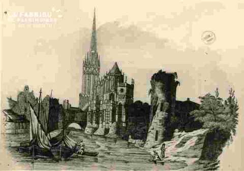 Caen Saint Pierre, le port, la tour Leroy au bas d'un calendrier