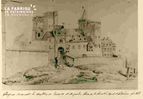 Abbaye aux Dames avant démolition des murs et du porche