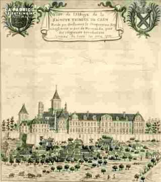 Veue de l'Abbaye de la Saincte Trinity de Caën