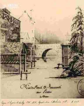 Pont Saint Laurent sur l'Odon prise de l'abreuvoir
