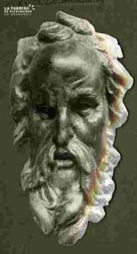 Tête de Moïse.Bois sculpté.XVIè