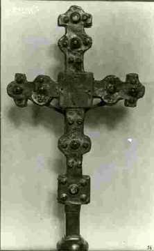 Pied de croix bronze ciselé & doré XVIIè
