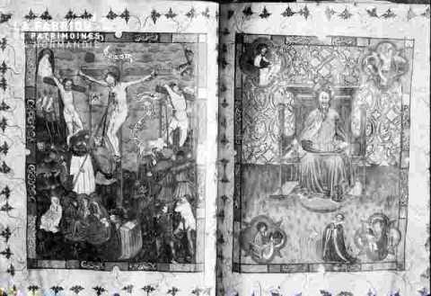 2 vitraux, jesus en croix, Dieu le père