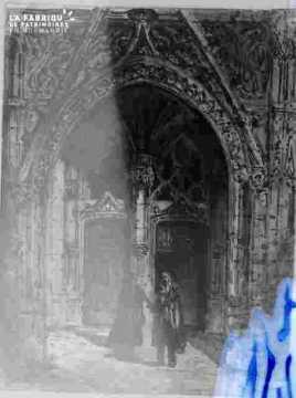 Porche de l'église Saint Gilles (?) avec couple