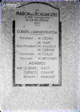 Maison des boulangers-plaque du Conseil d'Administration