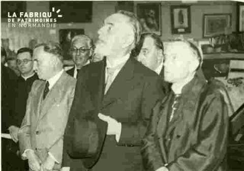 Inauguration de l'Expo, Mgr Picaud, MM Besnier, Lenoir