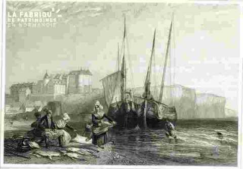 Ville cotière avec laveuses et bateaux