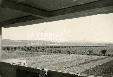 Vue depuis un poste d'observation d'une ferme fortifiée en Algérie