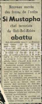 Extrait de journal annonçant la mort de Si Mustapha