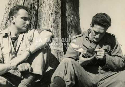 Soldats français assis au pied d'un arbre durant la guerre d'Algérie