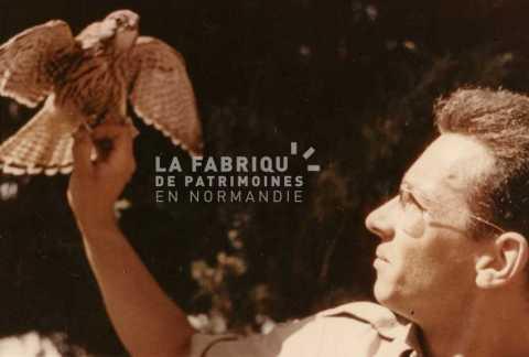 Soldat français avec un jeune faucon pèlerin en Algérie.