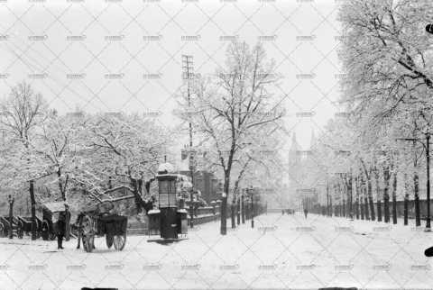 Caen, Boulevard Bertrand sous la neige