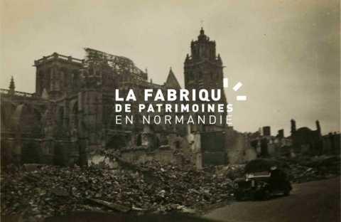 La collégiale Saint-Gervais-Saint-Protais après les bombardements de juin 1940 à Gisors.