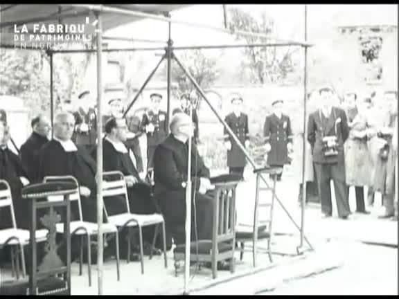 Bénédiction de la première pierre de l'église Saint-Julien de Caen le 8 novembre 1953